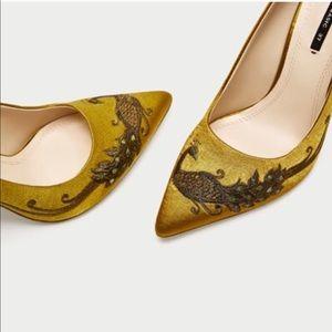 ZARA Satin Embroidered Heels